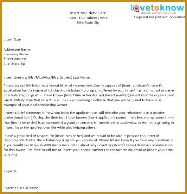 Sample Scholarship Re mendation Letter Re mendation Letter For A Friend Template 380395