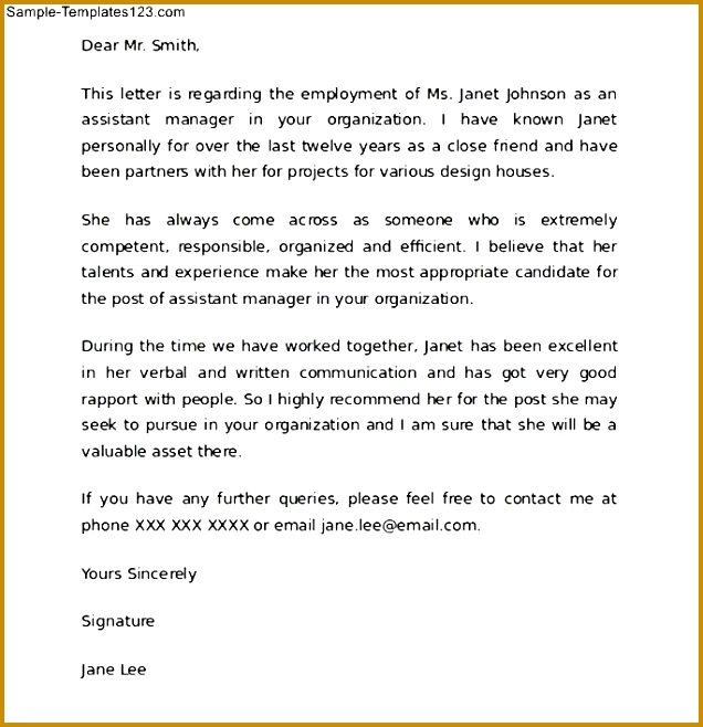 Re mendation Letter For A Friend Template Samples Etdvaeh 658636
