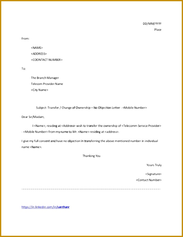 template transfer or change of ownership no objection letter mobile number 1 638 cb= 768593