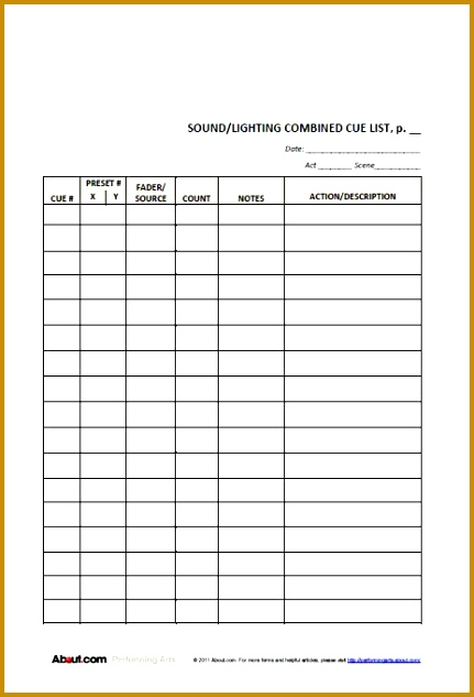 Lighting Cue Sheet Template 37361 Easy to Use Lighting and sound Cue ...