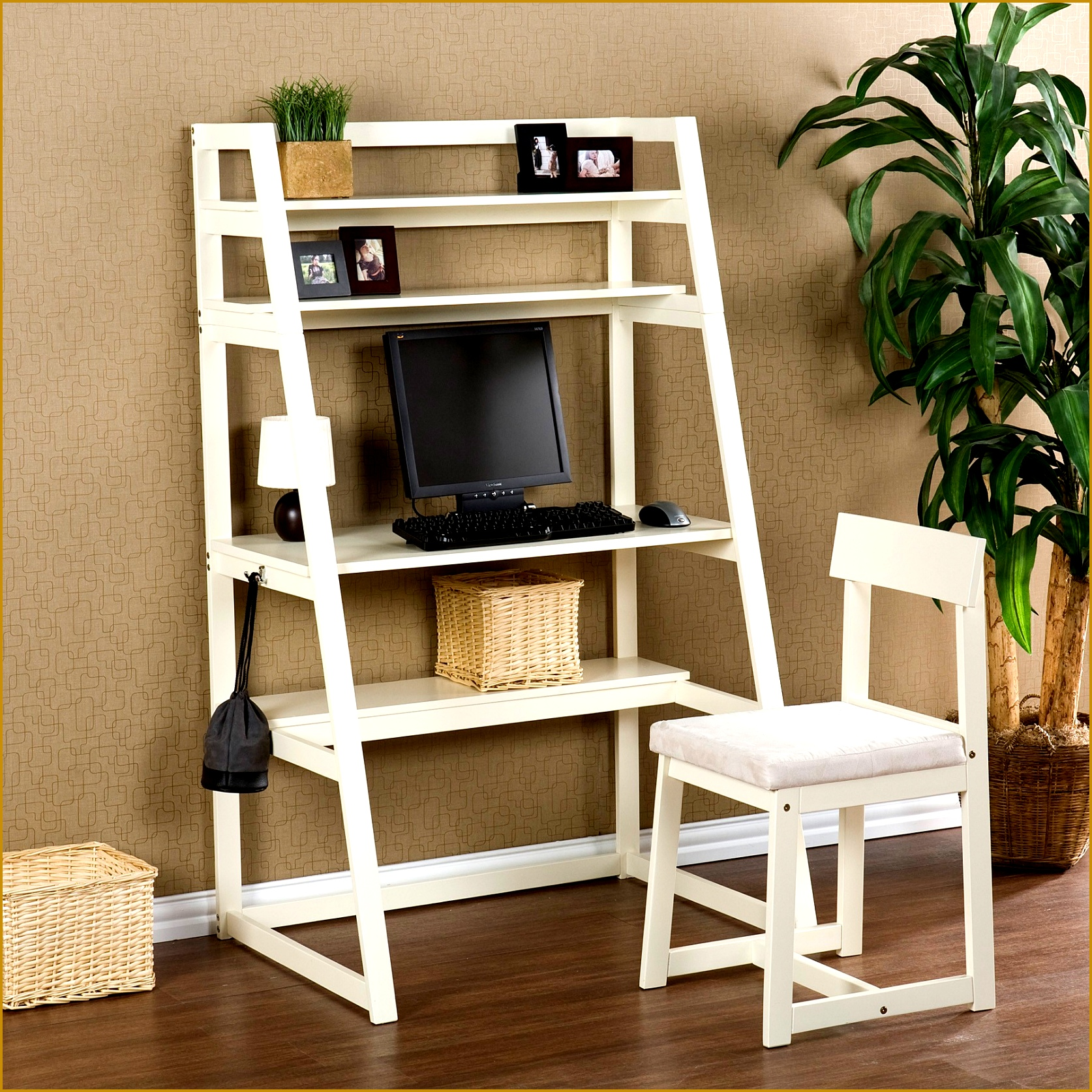 Furniture Simple Creative White Home fice Design Using A Tiered Racks As fice Desk With 16741674