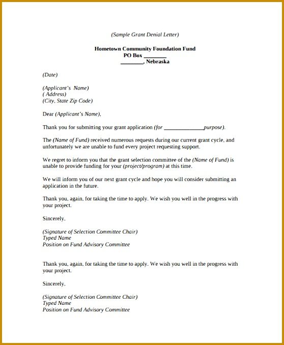 6 Loan Denial Letter Template | FabTemplatez