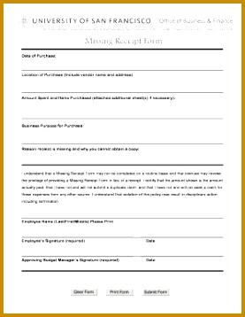 missing receipt form cx 358277