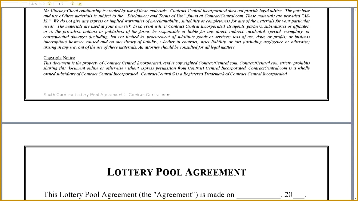 Office pool lottery agreement images agreement letter for Lottery group contract template