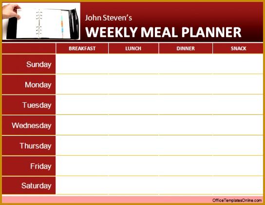 weekly meal planner template word weekly meal planner ms word template GfkLFs 421544