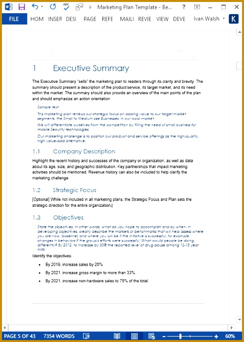Classic Marketing Plan Template Page 1 of the Table of Contents 698499
