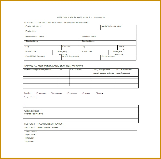 Material Safety Data Sheet Word Template Free Download 537544