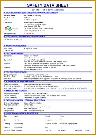 Safety Data Sheet Template 325455