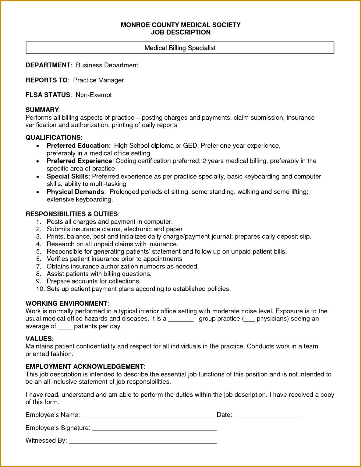 job description medical biller monroe country medical society job description 15341185