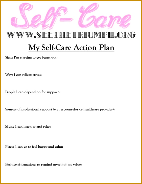 """Develop a """"Self Care Action Plan"""" to make caring for yourself a priority 744574"""