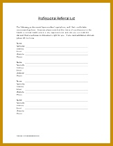 Creating A Professional Referral List — This form is intended to help you prepare a referral list of professionals to give to your clients 211163