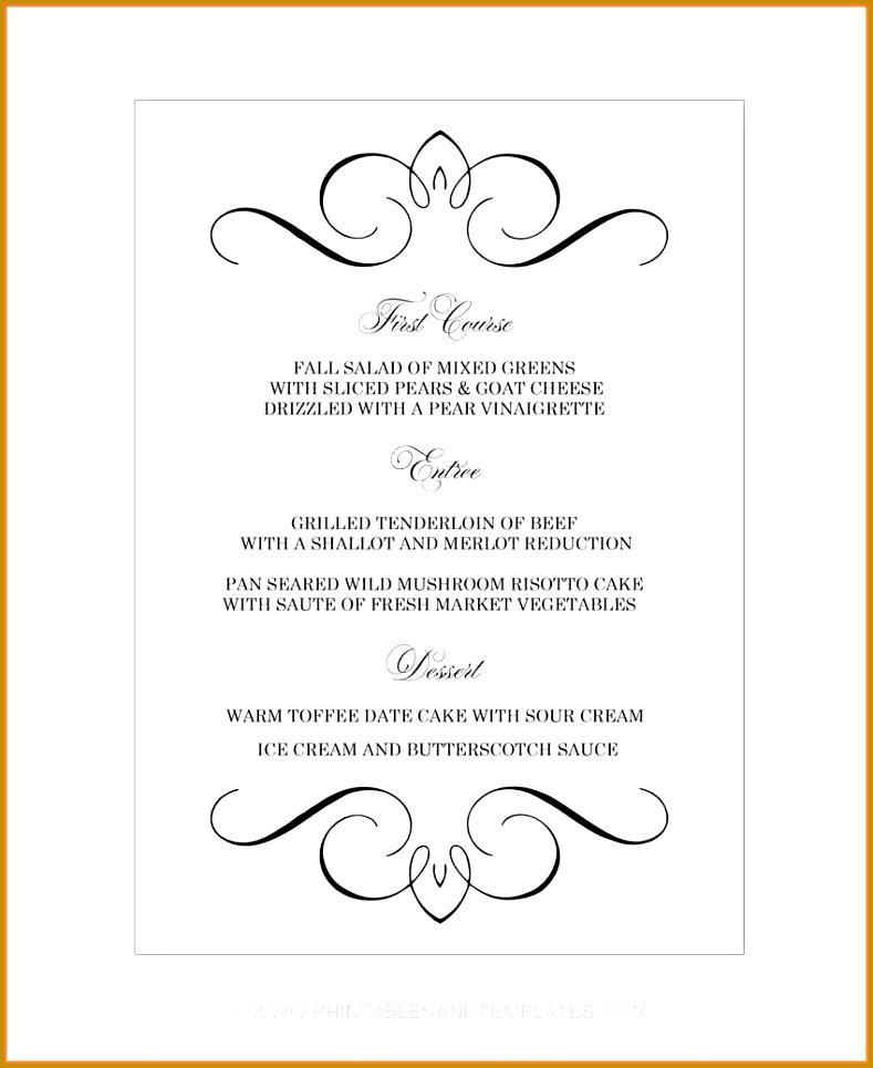 printable menu template cafe menu template word free 965789