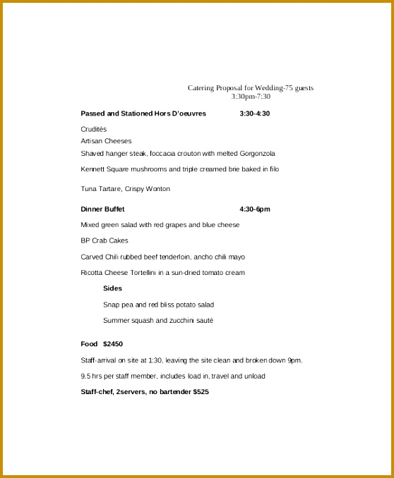 Wedding Catering Proposal Template 678558