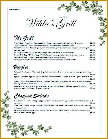 verticle menu template 491379