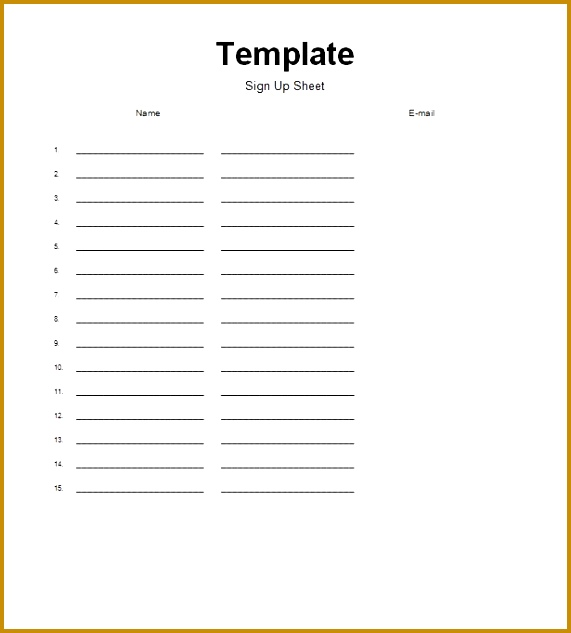 Printable Sign up Sheet Template 36 633571