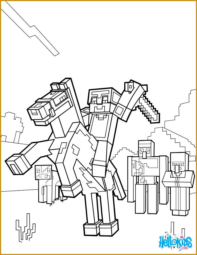 Minecraft coloring page Ride a horse to the Horizon 762985