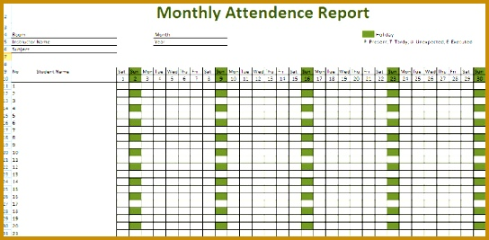 daily attendance sheet in excel