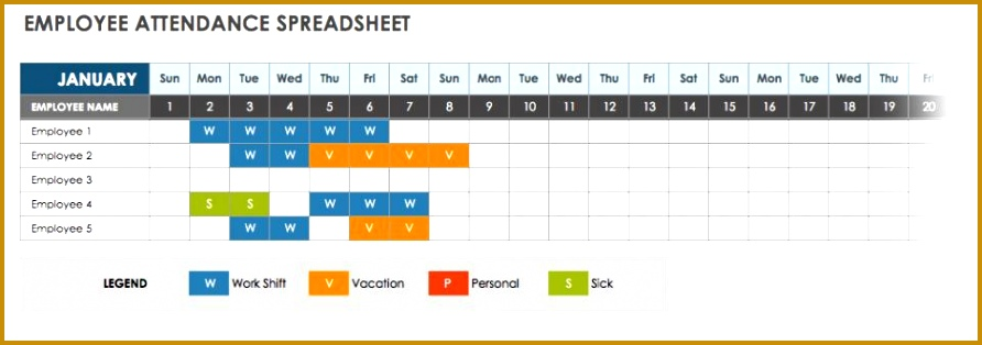 5 Monthly Attendance Sheet Xls | FabTemplatez