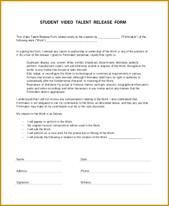 video release forms template - Engne.euforic.co