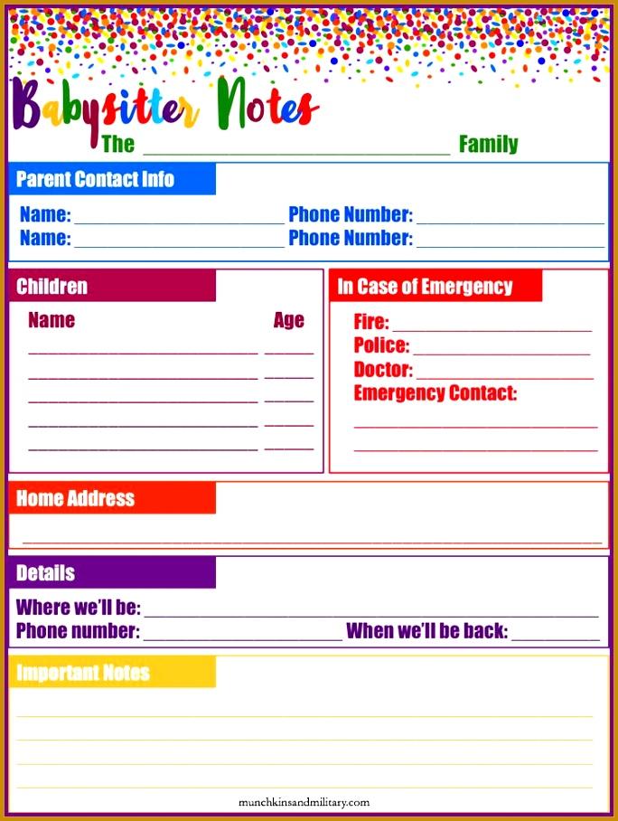 babysitter info sheet template