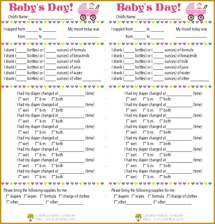 Nanny Log Sheet Templates 34489 Toddler Log Printable Nanny Log ...