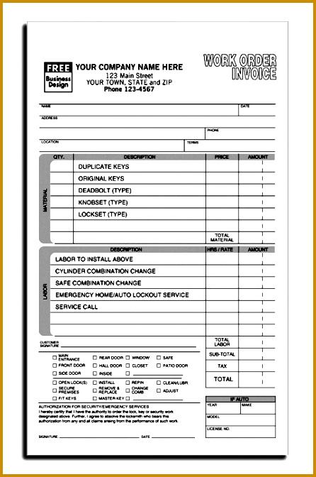 full locksmith work order invoice form S85 11 672446