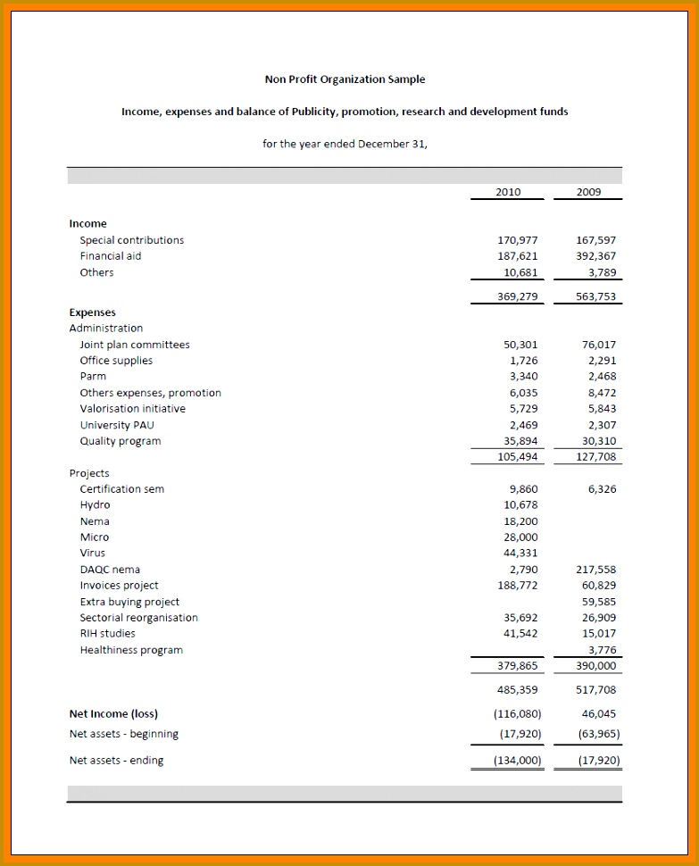 non profit financial statement template excel NPOFS3 970783