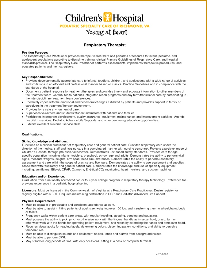 Download Sample Resume For Respiratory Therapist 714924