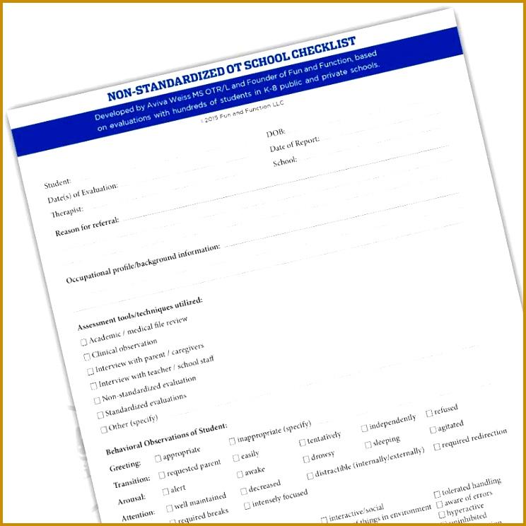 OT School Evaluation Checklist Downloadable 744744