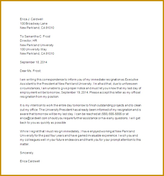 Immediate Resignation Letter Sample 544584