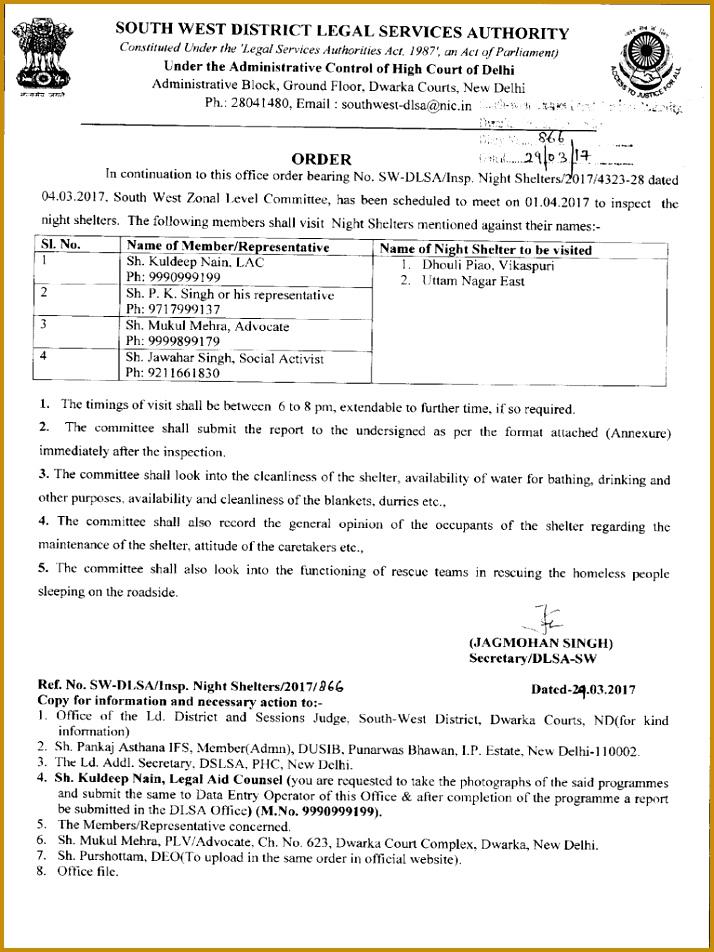 fice Order regarding inspection in Night Shelters Social Institutions 952714