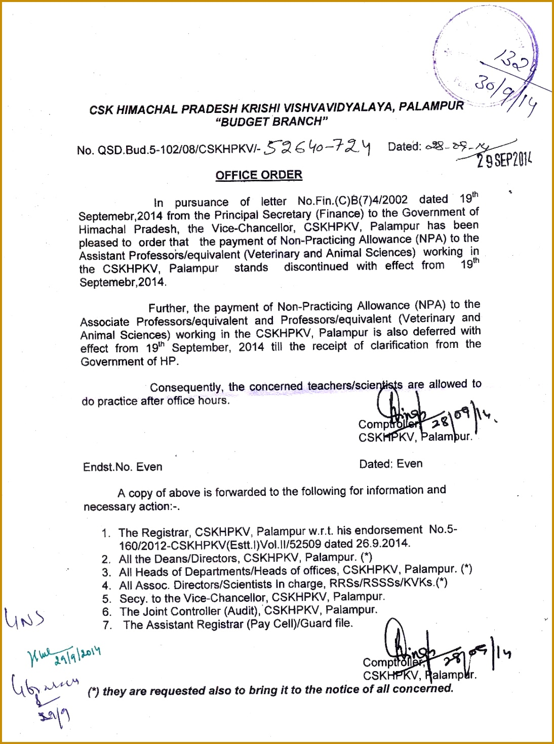 fice Order regarding the payment of Non Practicing Allowance NPA to the Asstt Prof Assoc Prof and Professors equivalent Vety and Animal Sciences 14691094