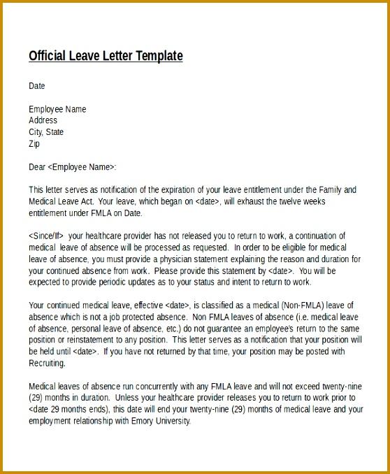 12 Leave Letter Templates 558678