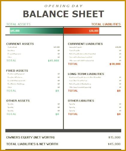 Opening Day Balance Sheet 504420