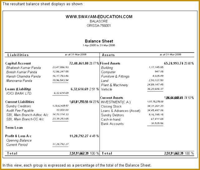 Balance Sheet in Tally9 642545