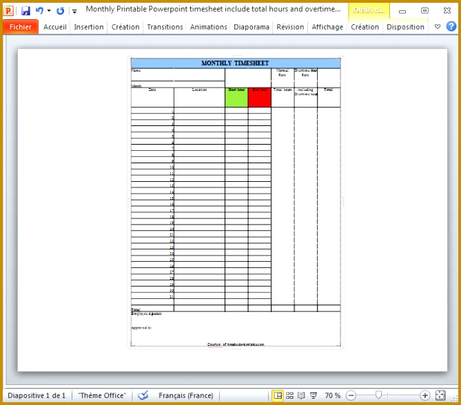 Monthly Printable Powerpoint timesheet include total hours and overtime hours on separate time rates 588669