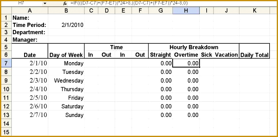 Work Hours Excel Template Build A Simple Timesheet In Excel Techrepublic Printable 458923