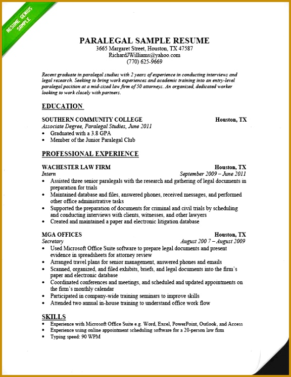 Resume Example for Paralegal 744576