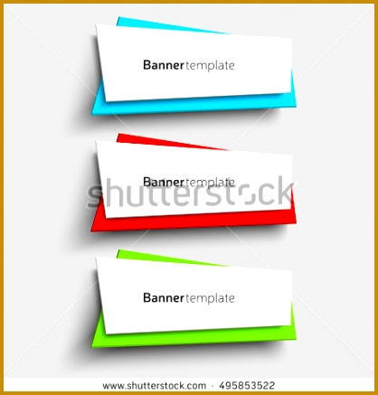 Vector origami paper shape banner design template Set of three colorful banners Set 437418