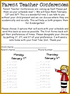 Parent Teacher Conference Sign Up Sheet Insaat Mcpgroup Co