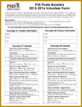 PHS Pirate Boosters Volunter Form 2015 2016 fillablepdf 358277