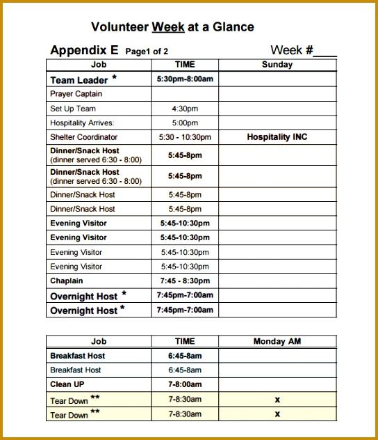 Printable Weekly Volunteer Schedule Template Free Download 632544