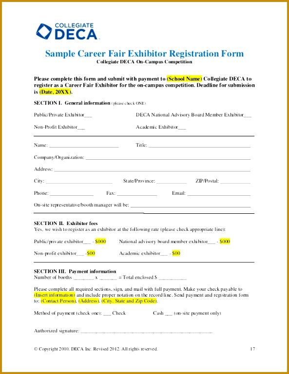 16 17 Sample Career Fair Exhibitor Registration Form 768593