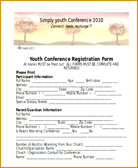 youth conference registration form template registration form templates 678558