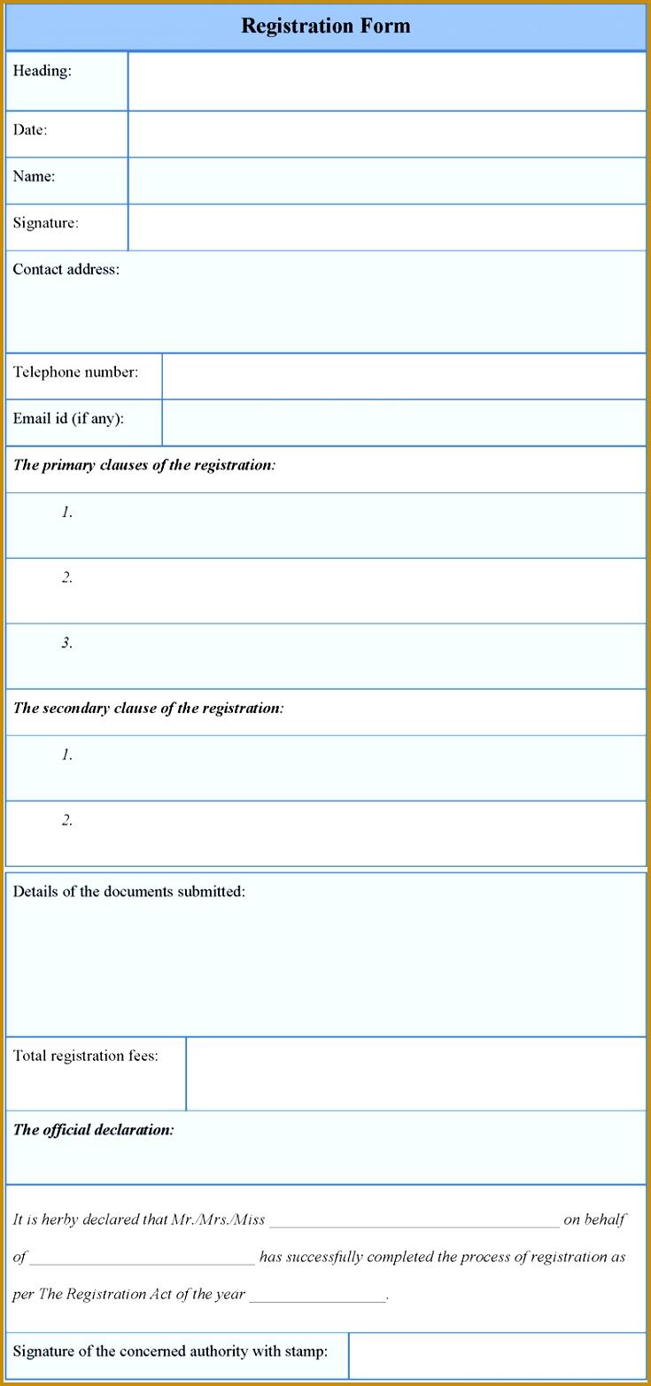 Registration Form Template Sample Registration Form Template Sample HHPTkLm1 1565735