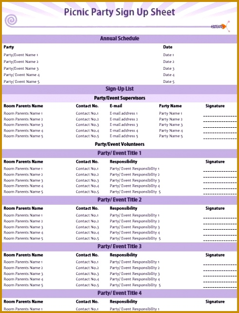 5 Party Schedule Sample