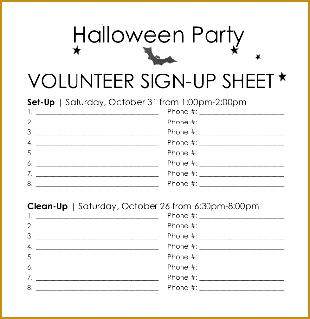 Halloween Party Volunteer Sign Up Sheet Printable 651632