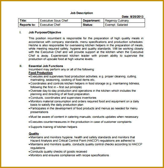 Executive Sous Chef Job Description Free PDF Template 557544