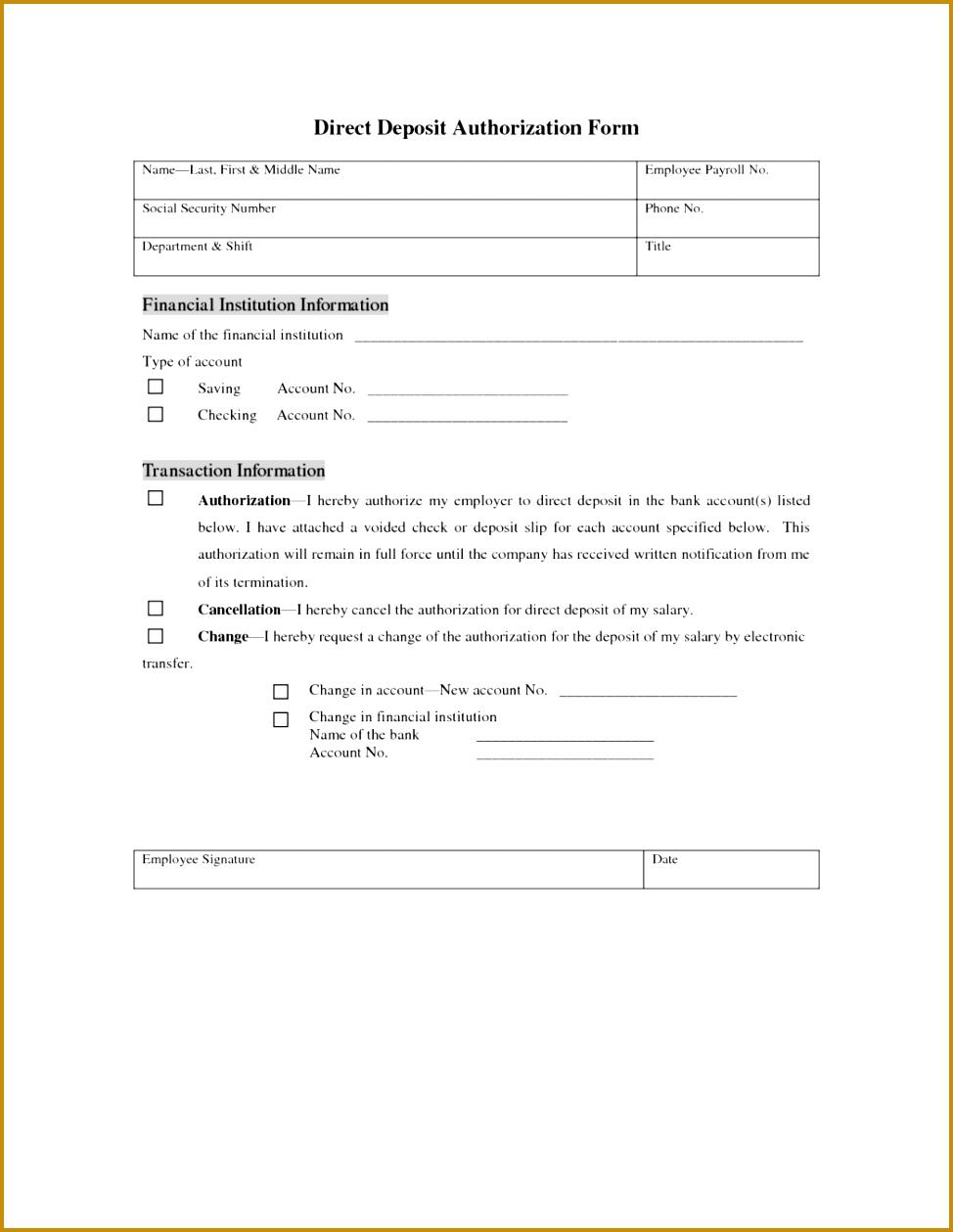 8 Direct Deposit Authorization Form Letter Template Free 1292 Direct Deposit Form Template Form 1259974