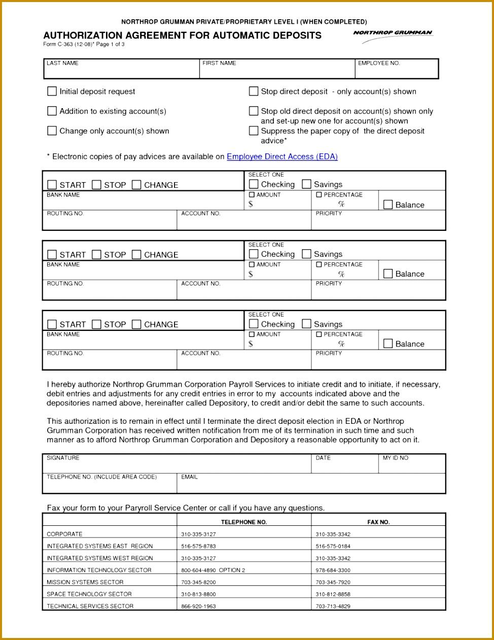 11 Wells Fargo Direct Deposit Authorization Form Pay Stub Template 228 9741261